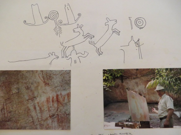 Sketches of life-sized cave  art found on a granite mountain.