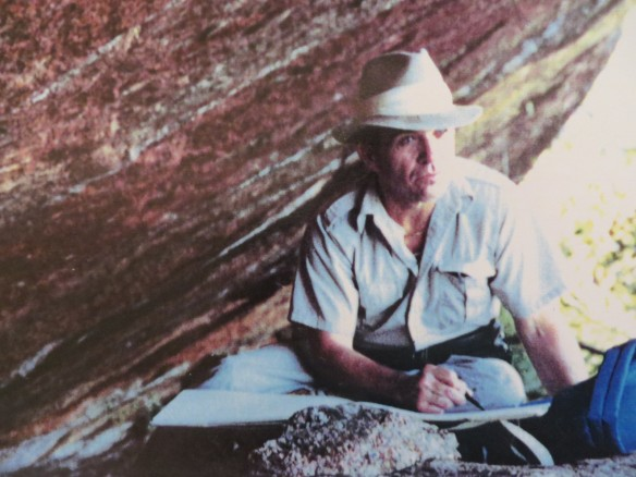 Warren recording the cave art in Amazonia