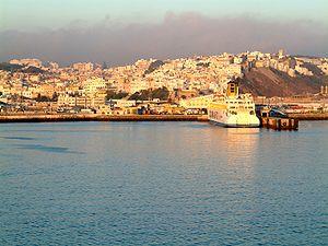 Coastal image of Tangier, Morocco